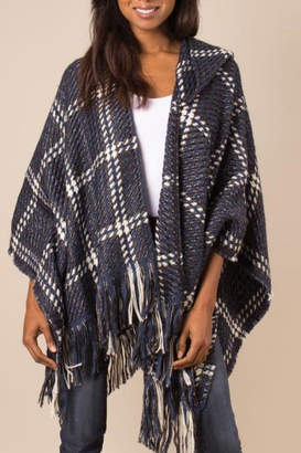 Simply Noelle Check Me Out Hooded Wrap Poncho Denim