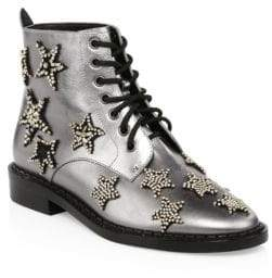 Coach Watts Crystal Star Metallic Leather Boots