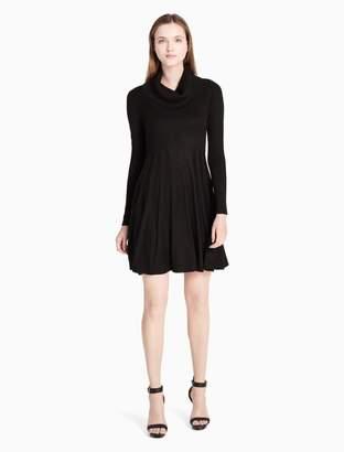 Calvin Klein cowl neck fit + flare sweater dress