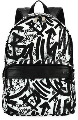 Bally Wolfson Graffiti Nylon Backpack