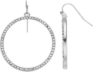 Simulated Crystal Drop Nickel Free Hoop Earrings