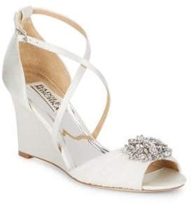 Badgley Mischka Tacey Embellished Satin Wedge Heel Sandals