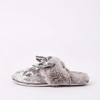 River Island Grey velvet bow mule slippers