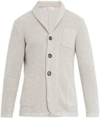 Brunello Cucinelli Shawl-collar ribbed-knit cotton cardigan