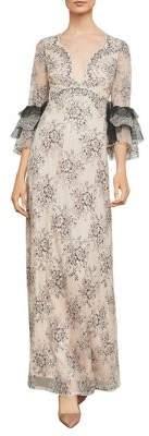 BCBGMAXAZRIA Cascading Floral Lace Gown