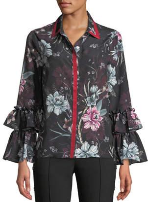 Badgley Mischka Floral Bell-Sleeve Blouse