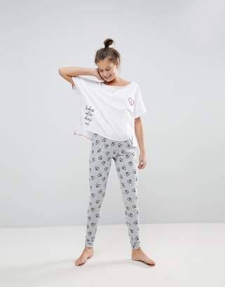 Asos Kindness & Love Tee & Legging Pajama Set