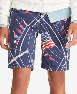 "Polo Ralph Lauren Men's Relaxed-Fit Nautical Flag Print 10"" Shorts"