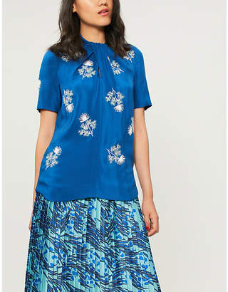 Erdem Karola floral-embroidered silk-satin top