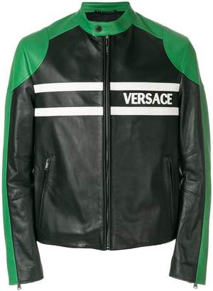 Versace logo print leather jacket