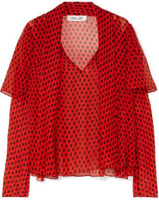 Diane von Furstenberg Pussy-bow Polka-dot Crinkled Silk-chiffon Blouse