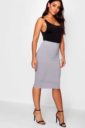 boohoo Ribbed Midi Skirt