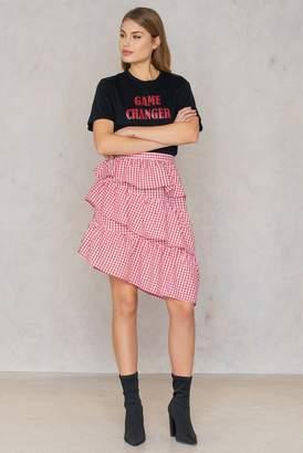 NA-KD Na Kd Triple Layer Gingham Skirt Red