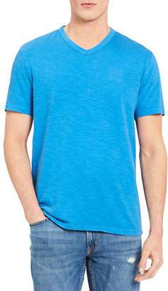 Calvin Klein Jeans Mixed Media V-Neck Cotton T-Shirt