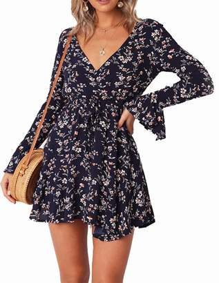 LUKYCILD Women Long Sleeve V Neck Floral Print Short Dress Ruffle Sleeve Above Knee DRSS Size L