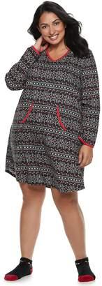 Croft & Barrow Plus Size Printed Sleepshirt & Sock Pajama Set