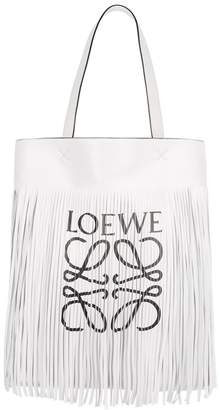 Loewe Vertical Fringed White Leather Tote