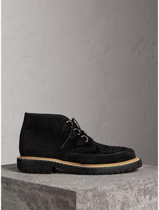 Burberry Woven-toe Suede Ankle Boots