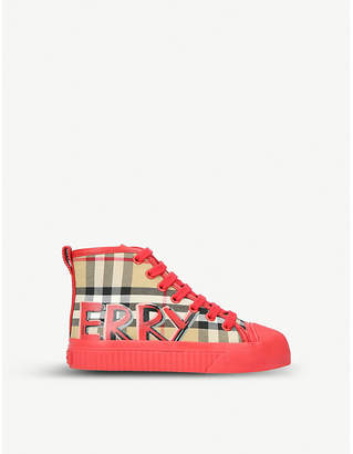 Burberry Mini Kingly canvas and leather high-top trainers 3-4 years