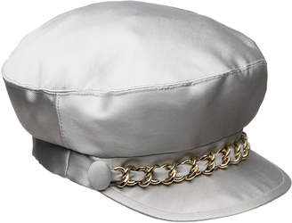 Eugenia Kim Marina Satin Newsboy Hat with Chain Detail