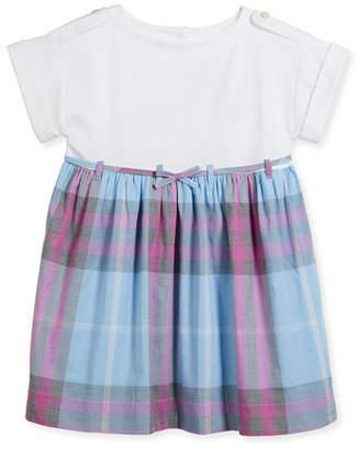 Burberry Rhonda Jersey & Check Poplin Dress, Blue, Size 4-14