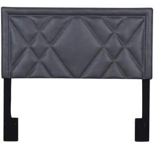HomeFare Faux Leather 'X' Patterned Nail Head Trim King Upholstered Headboard in Lummus Steel