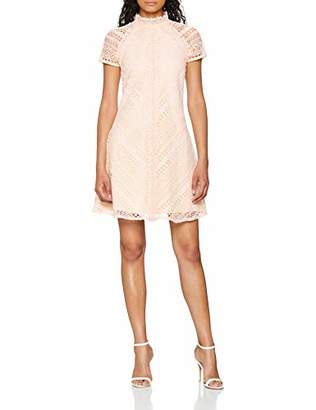 Little Mistress Women's Nude Lace Shift Party Dress, Pink, 8