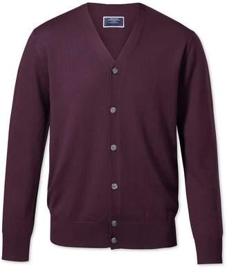 Charles Tyrwhitt Wine Merino Wool Cardigan Size Large