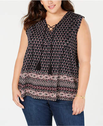 Style&Co. Style & Co Plus Size Printed Lace-Up Sleeveless Top, Created for Macy's