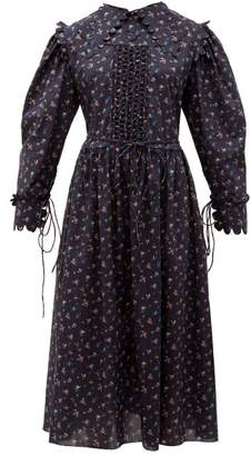 Horror Vacui Clara Scalloped Floral Print Cotton Dress - Womens - Navy Multi