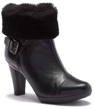 Geox Inspiration Leather & Faux Fur Trim Bootie