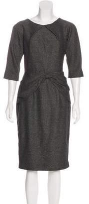 Lela Rose Draped Short Sleeve Midi Dress