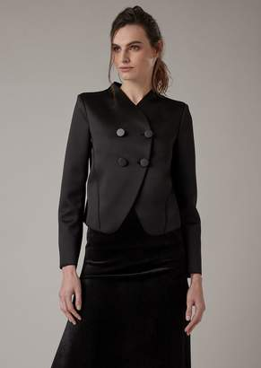 Giorgio Armani Double-Breasted Cocktail Jacket In Satin Jersey