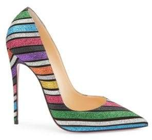 Christian Louboutin Pigalle Follies 100 Striped Glitter Suede Pumps