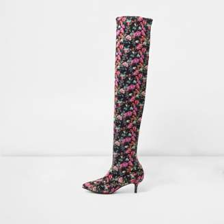 River Island Black floral over-the-knee kitten heel boots