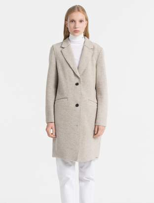Calvin Klein heathered wool blend coat