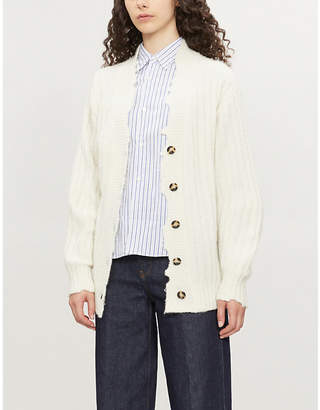 Comme des Garcons Heart-embroidered striped cotton shirt