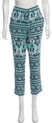 Calypso Silk Printed Mid-Rise Pants