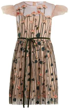 RED Valentino Floral Embroidered Tulle Mini Dress - Womens - Nude