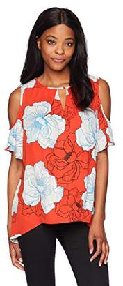 Chaus Women's Short Sleeve Cold Shoulder Peony Print Blouse