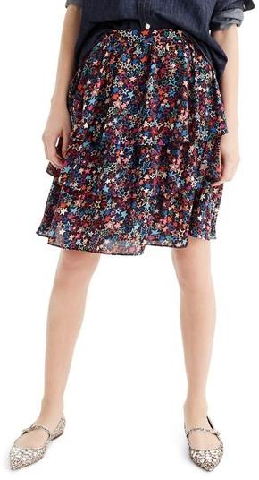 Women's J.crew Star Print Tiered Skirt