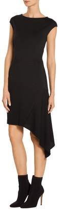 St. John Asymmetrical Milano Knit Cap Sleeve Dress