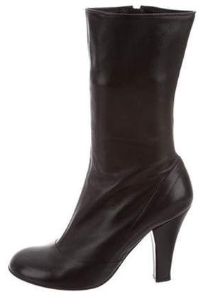 Marc Jacobs Leather Round-Toe Ankle Boots Black Leather Round-Toe Ankle Boots