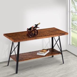 GranRest 48'' Rustic Wood Console Table - Rustic Brown, Modern Black steel
