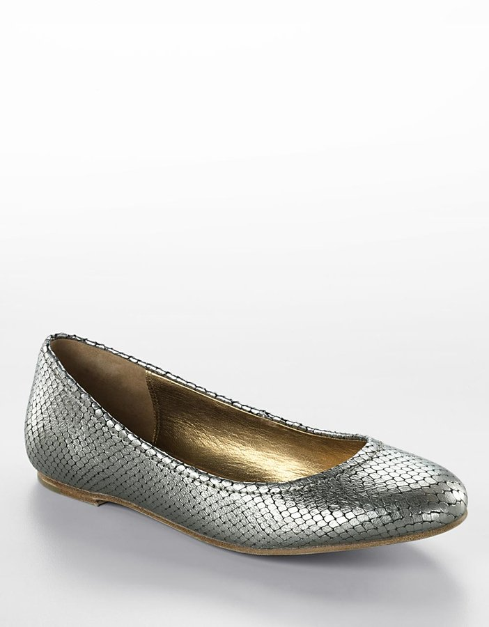 Cynthia Vincent Layne Snake-Embossed Metallic Leather Flats