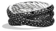 David Yurman Crossover Ring With Black Diamonds In 18K White Gold