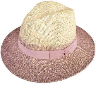 Justine Hats Classic Two Tone Straw Fedora Hat