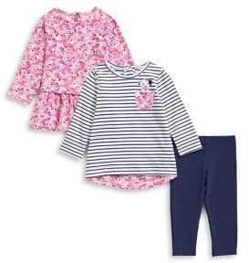 Little Me Baby Girl's Three-Piece Floral Top, Striped Top Pants Set