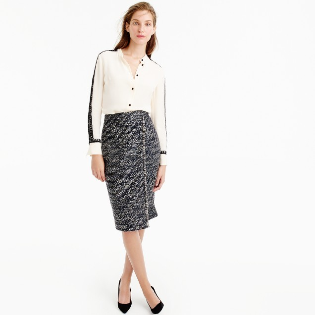 J.Crew Faux-wrap pencil skirt in metallic tweed