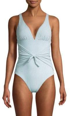 Shoshanna One-Piece Pinstripe Tie-Waist Chambray Swimsuit